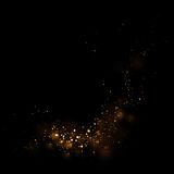 Gold glittering star light and bokeh.Magic dust abstract background element for your product. royalty free illustration