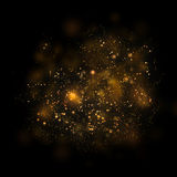 Gold glittering star light and bokeh.Magic dust abstract backgro Stock Photo