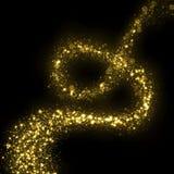 Gold glittering stars dust magic trail. Royalty Free Stock Photo