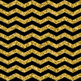 Gold glittering zigzag seamless pattern. Royalty Free Stock Images