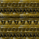 Gold glittering zigzag wave backgrouns. black vector Ethnic seamless Royalty Free Stock Image