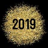 Gold glitters 2019. 2019 Gold glitters, invitation background template stock illustration