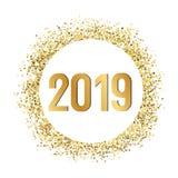 Gold glitters 2019. 2019 Gold glitters, invitation frame template vector illustration