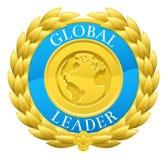 Gold Global Leader Winner Laurel Wreath Medal Stock Images