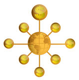 gold Global wealth world globe design Royalty Free Stock Images