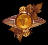Gold globe. The gold globe decorated by autumn leaves and abstract elements Royalty Free Stock Photography