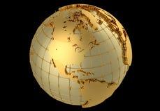 Gold globe. 3D globe, gold materials Royalty Free Stock Photos