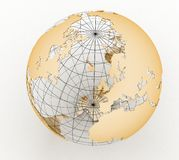 Gold globe art Stock Photos
