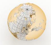 Gold globe art Stock Photos