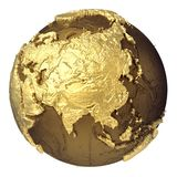 Gold Globe Asia Royalty Free Stock Photos