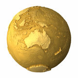 Gold Globe - Australia. Gold globe - metal earth with realistic topography - australia, 3d render Stock Images