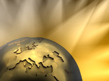 Gold Globe Close-up, Europe. Gold globe close-up - Europe, visible spotlights in background Royalty Free Stock Photos