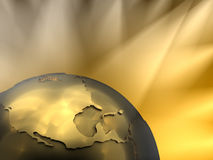 Gold Globe Close-up, North America. Gold globe close-up - North America, visible spotlights in background Royalty Free Stock Images
