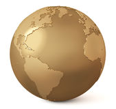 Gold globe / Earth model. The globe with a bas-relief royalty free illustration