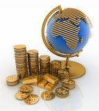 Gold globe and gold coins Stock Images