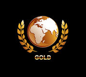Gold globe illustration. Golden globe with laurel icon. Vector Stock Images