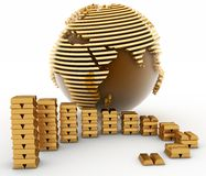 Gold globe with many bullions Stock Images