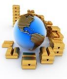 Gold globe with many bullions Royalty Free Stock Photos
