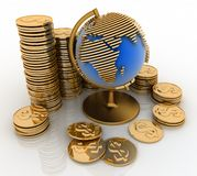 Gold globe with many gold coins Stock Photos