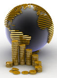 Gold globe with many gold coins Royalty Free Stock Photography