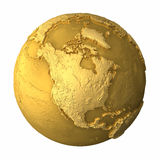 Gold Globe - North America. Gold globe - metal earth with realistic topography - north america, 3d render Stock Photo