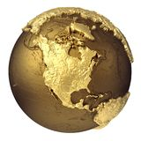 Gold Globe North America Royalty Free Stock Photo