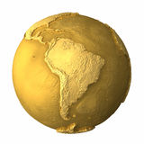 Gold Globe - South America. Gold globe - metal earth with realistic topography - south america; 3d render Stock Images