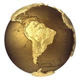 Gold Globe South America Stock Photo