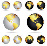 Gold globes of planet Earth. In two variations - platinum and black gold Stock Images