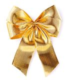 Gold glossy bow isolated on white Royalty Free Stock Photos