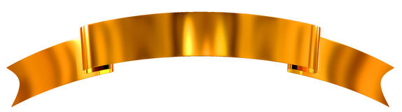 Gold glossy ribbon as banner Stock Photography