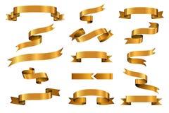 Gold glossy ribbon vector banners set Stock Image