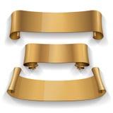 Gold Glossy vector ribbon Royalty Free Stock Photography