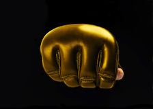 Gold Glove for the martial arts, mma. space for text. logo. Fist gold gloves for martial arts, mma on a black background Royalty Free Stock Photo