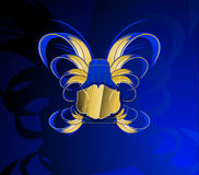 Gold and Glow Blue Banner Royalty Free Stock Photography