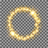 Gold glow glitter circle frame with stars on transparent background. Vector illustration Royalty Free Stock Photos