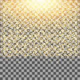 Gold glow glitter sparkles on transparent background.Falling dust. Royalty Free Stock Photo