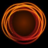 Gold glowing fire rings with Light Effects stock illustration