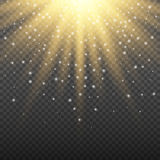 Gold glowing light burst explosion on transparent background. Bright flare effect decoration with ray sparkles. Gold glowing light burst explosion on transparent Stock Photos