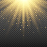 Gold glowing light burst explosion on transparent background. Bright flare effect decoration with ray sparkles. Gold glowing light burst explosion on transparent Royalty Free Stock Photos