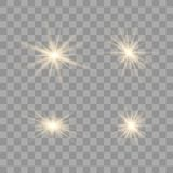 Gold glowing light set. vector illustration