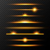 Gold glowing lines with stars set. Shining line set. Golden realistic lens flare set. Collection of light effects on transparent b. Ackground. Flash with rays royalty free illustration