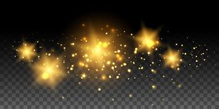 Gold glowing stars and effects Stock Image