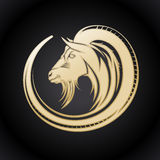 Gold goat logo. Royalty Free Stock Images