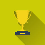 Gold goblet icon. Trophy Cup, gold goblet - icon sport. Concept of victory, award, achievement, goal. Flat design with long shadow. Vector illustration for your Royalty Free Stock Photo