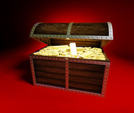 Gold, gold-bars, golden. Trunk with gold on a red background Stock Images