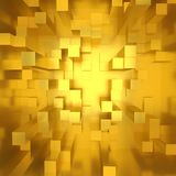 Gold. En cubes background in square format Royalty Free Stock Photo
