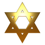 Gold Golden Jewish Star of David Stock Image