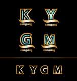 Gold golden letter logo icon set Royalty Free Stock Image