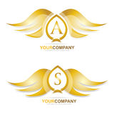 Gold golden wings logo icon set Royalty Free Stock Image